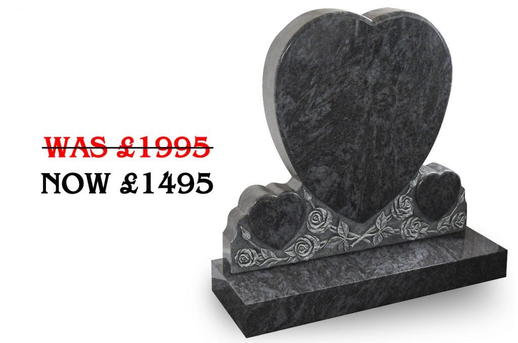 Bahama blue triple heart headstone offer